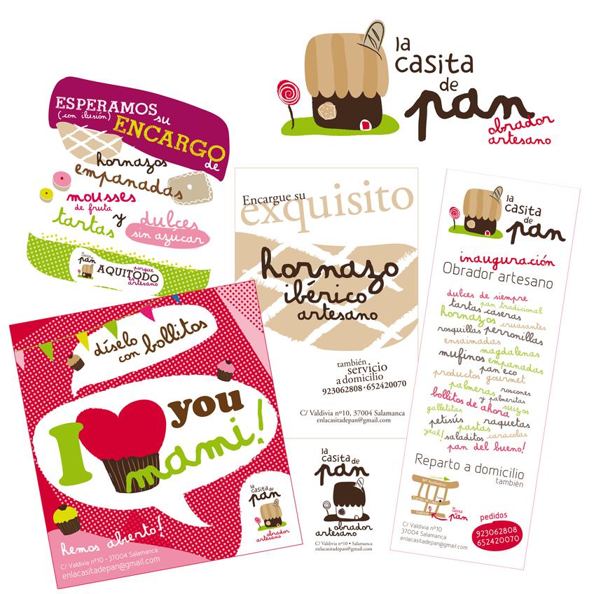 Diseños de Marta Viera para la panadería La Casita de Pan en Salamanca