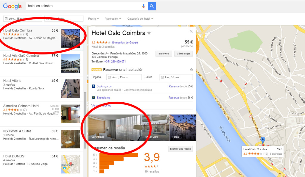 Hotel en Coimbra con visita virtual en Google